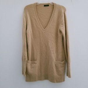J Crew Front Pocket Beige Tunic Sweater